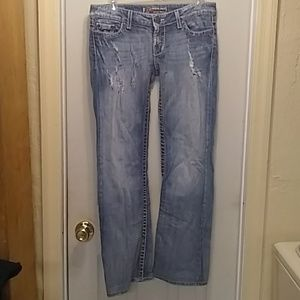 Bke jeans boot leg distressed 27x31 1/2 great cond